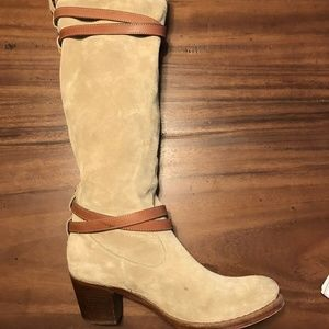Rare Frye anthro Suede Boots Strappy Gray